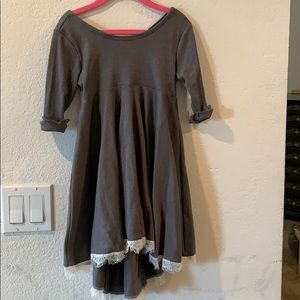 Other - Beautiful grey long sleeve dress white lace trim